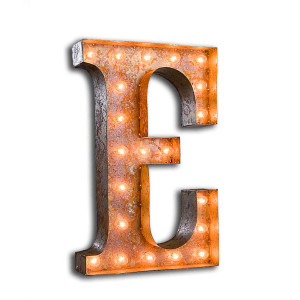 """Vintage Finished """"E"""" Marquee Light"""