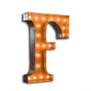 """Vintage Finished """"F"""" Marquee Light"""