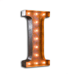 "Vintage Finished ""I"" Marquee Light"