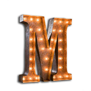 "Vintage Finished ""M"" Marquee Light"