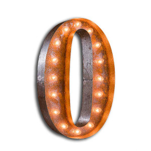 """Vintage Finished """"O"""" Marquee Light"""