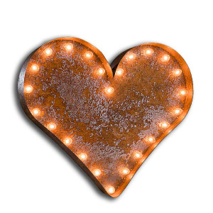 Vintage Finished Heart Marquee Light