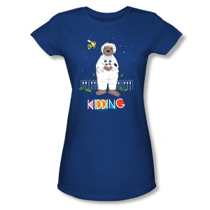 Kidding Astronotter Women's Slim Fit T-Shirt (Royal Blue)