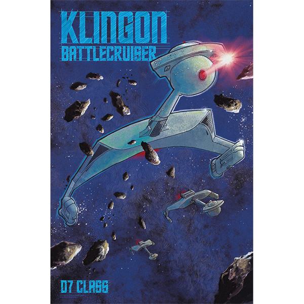 star trek the original series d7 class klingon battlecruiser poster