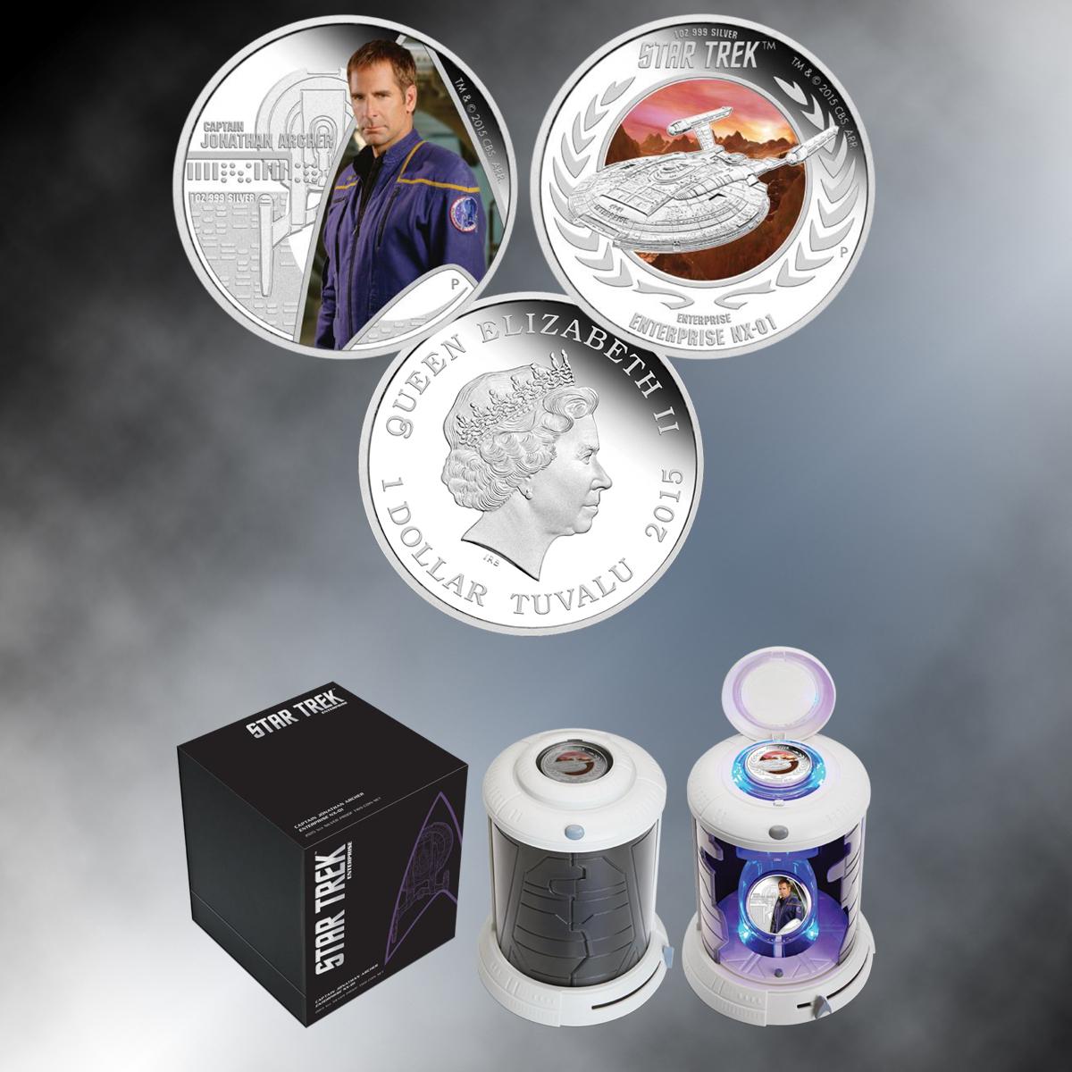 2015 Star Trek 2pc Set Captain Archer & Enterprise NX-01