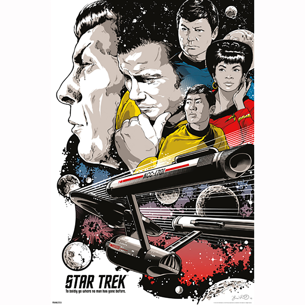 Star Trek 50th Art Collection To Boldly Go by Joshua Budich Poster [13 x 9]