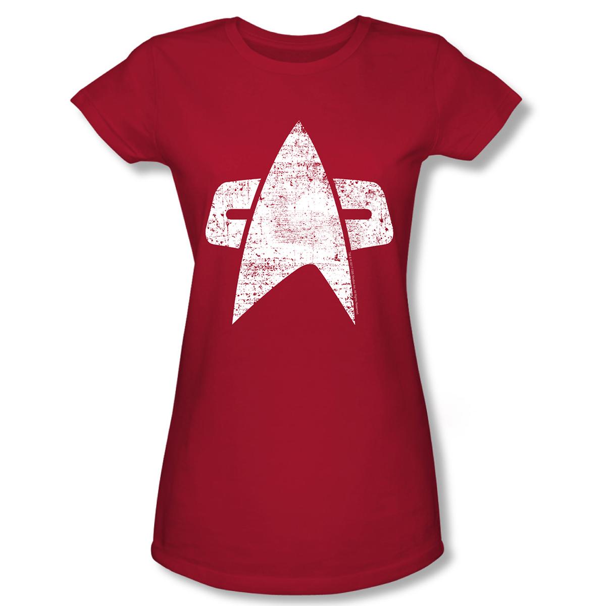 Star Trek Voyager Distressed Delta Women's Slim Fit T-Shirt