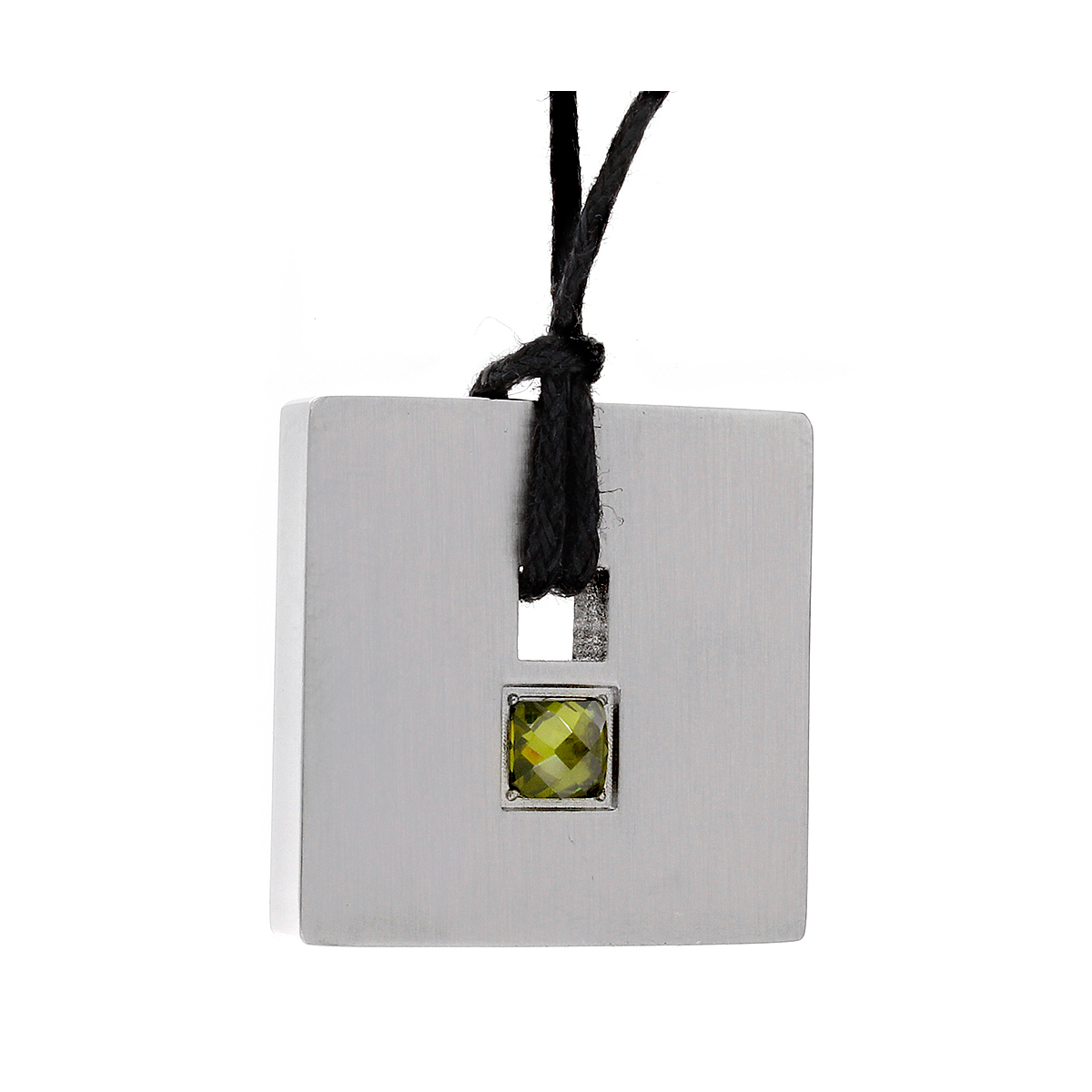 Star Trek Stainless Steel Yellow Crystal Square Pendant