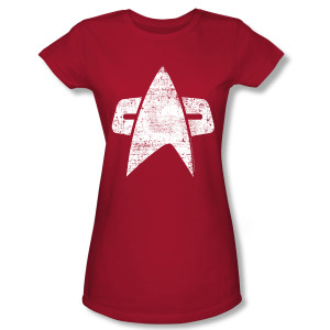 Star Trek Voyager Distressed Delta Women's Slim Fit T-Shirt