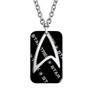 Star Trek Stainless Steel & Black IP Dog Tag With Federation Attachment