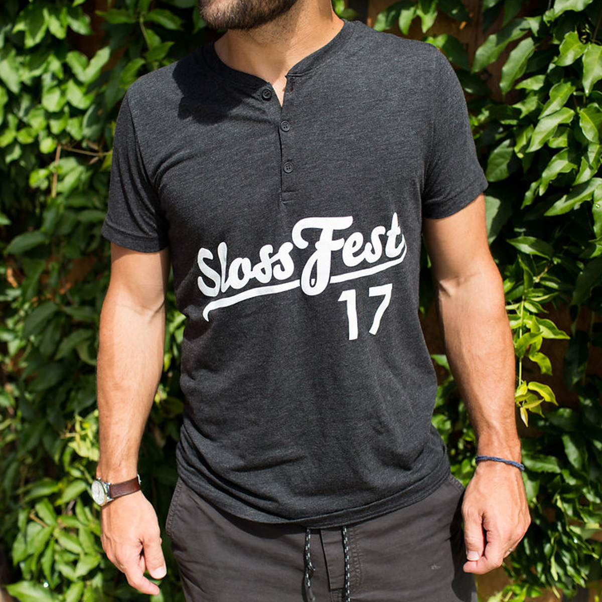 Sloss Music & Arts Festival 2017 Athletic Logo Short Sleeve Henley