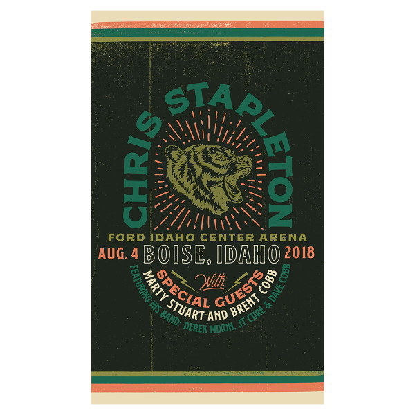 Chris Stapleton Show Poster – Boise, ID 8/4/18 | Shop the