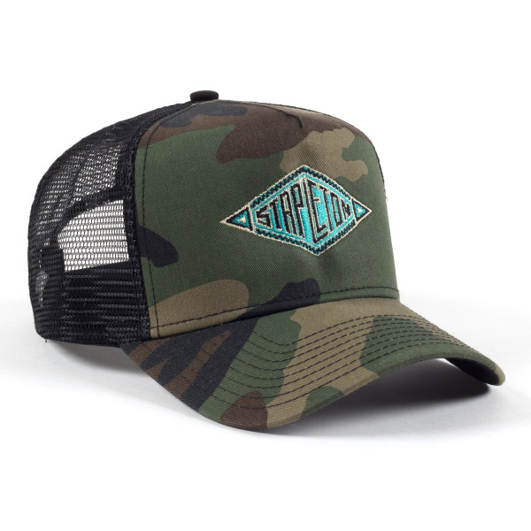 f8cf1d8b7d Southwestern Embroidered New Era Camo Trucker Hat