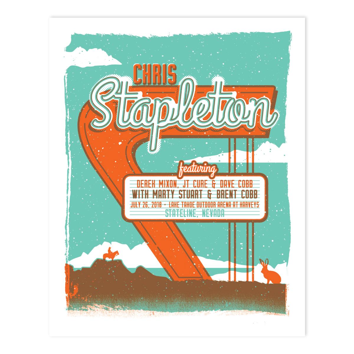 Chris Stapleton Show Poster – Stateline, NV 7/26/18
