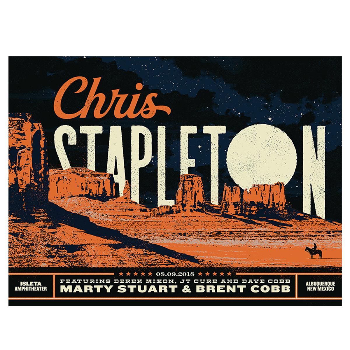 Chris Stapleton Show Poster – Albuquerque, NM 8/9/18