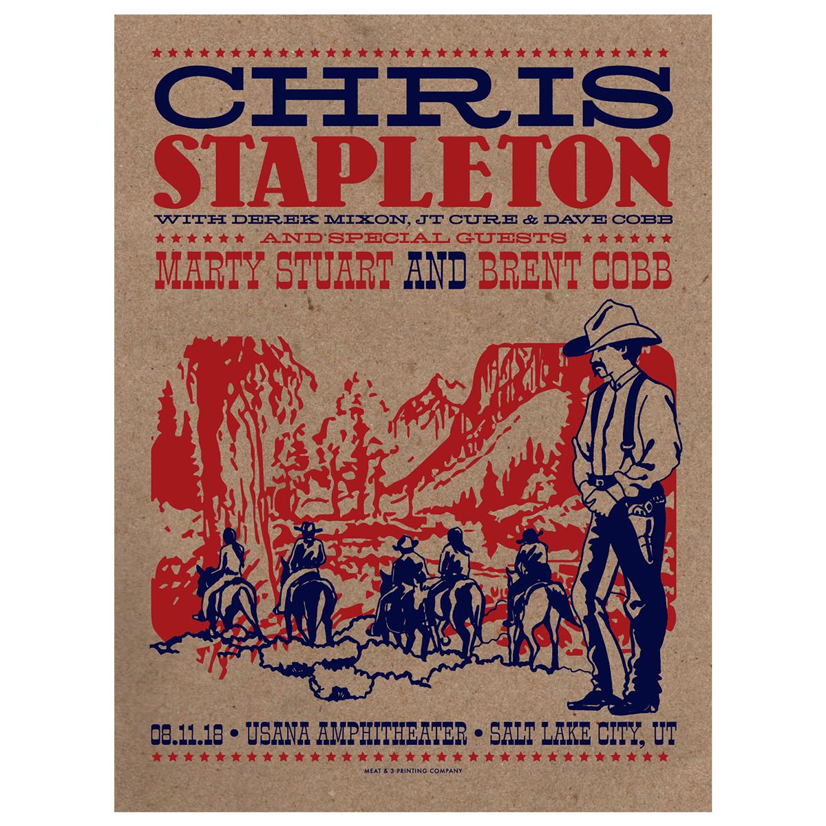 Chris Stapleton Show Poster – Salt Lake City, UT 8/11/18