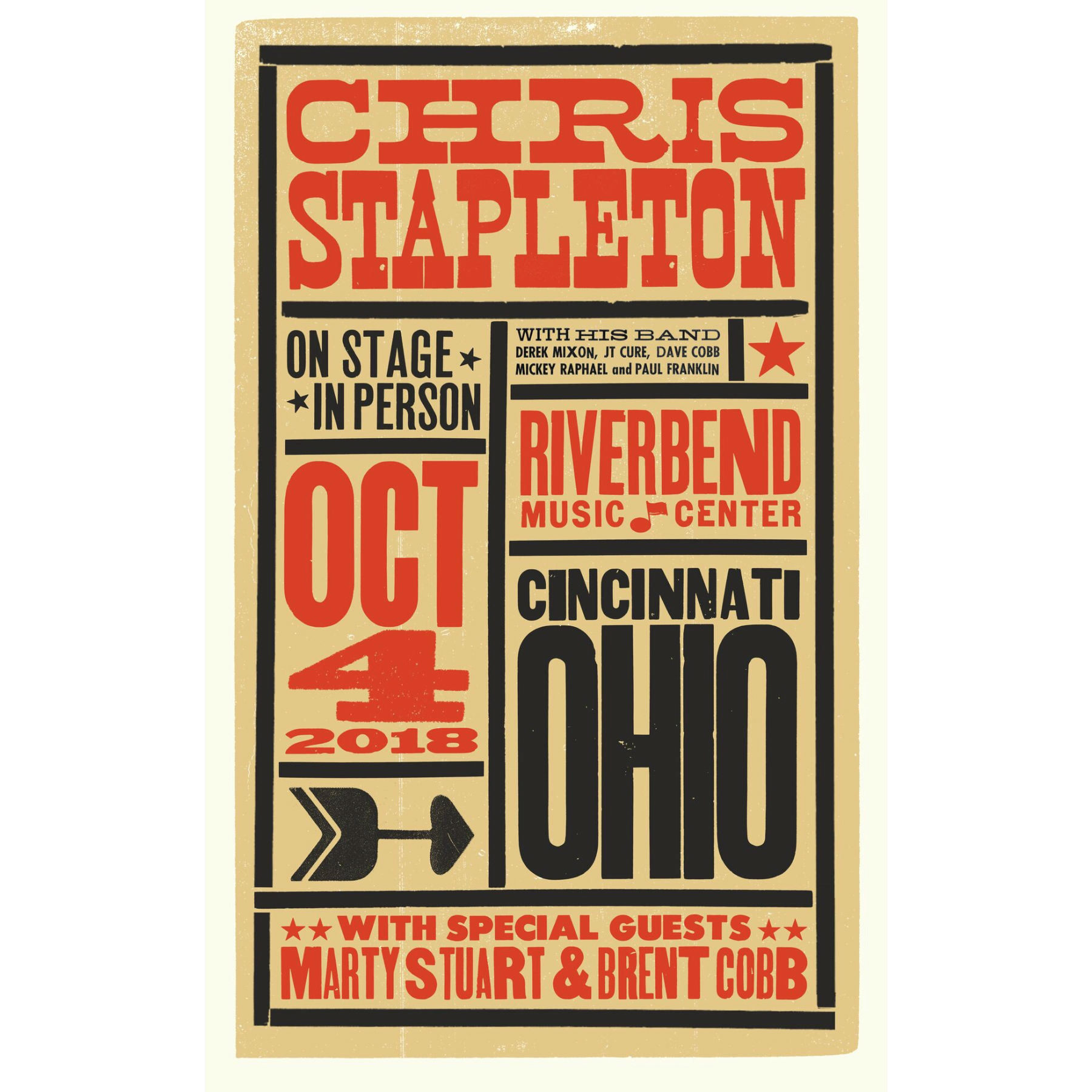 Chris Stapleton Show Poster – Cincinnati, OH 10/4/18