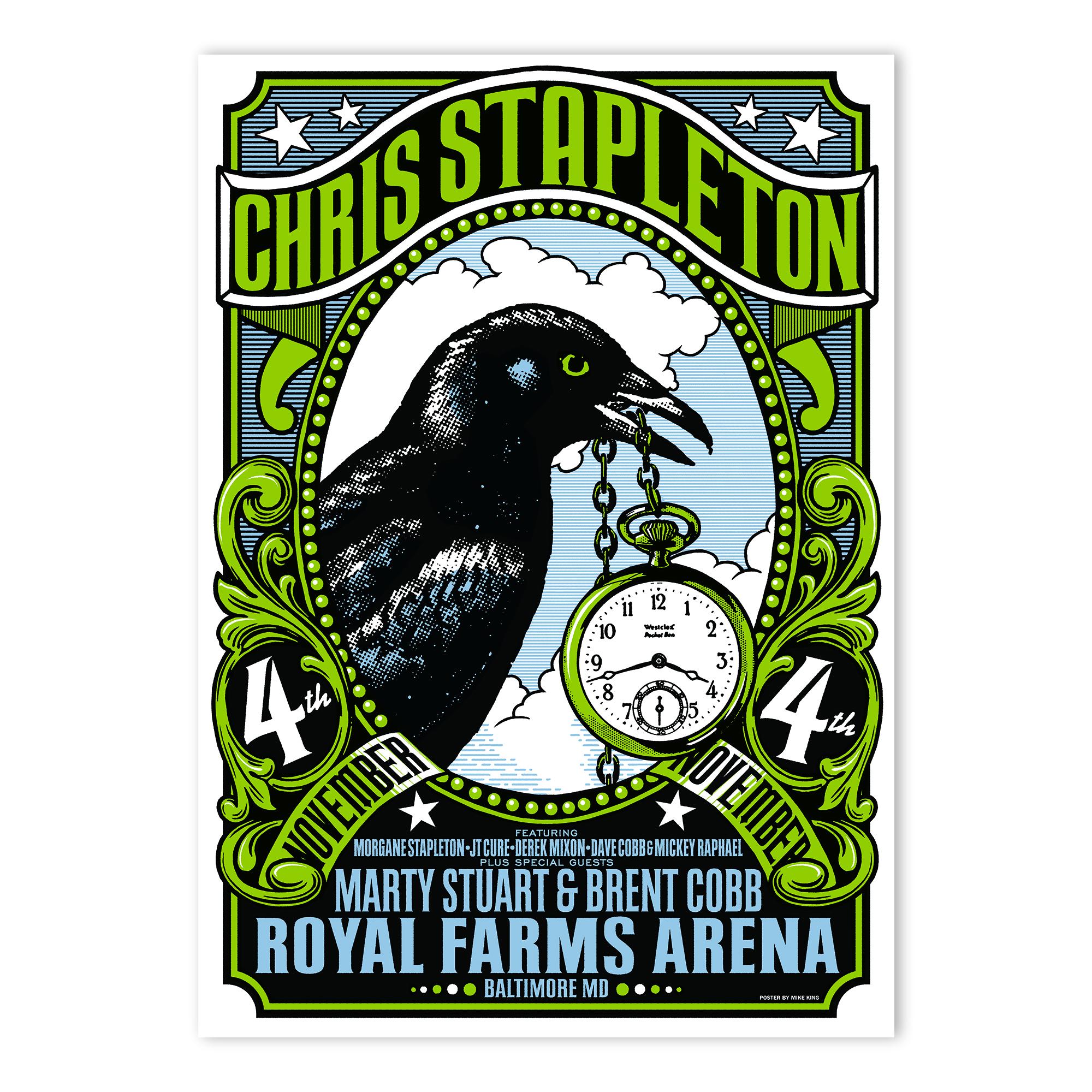 Chris Stapleton Show Poster – Baltimore, MD 11/4/18