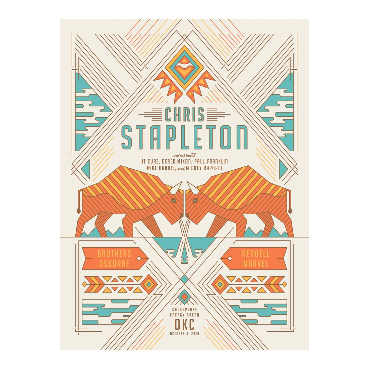 Chris Stapleton Show Poster – Oklahoma City, OK 10/4/19