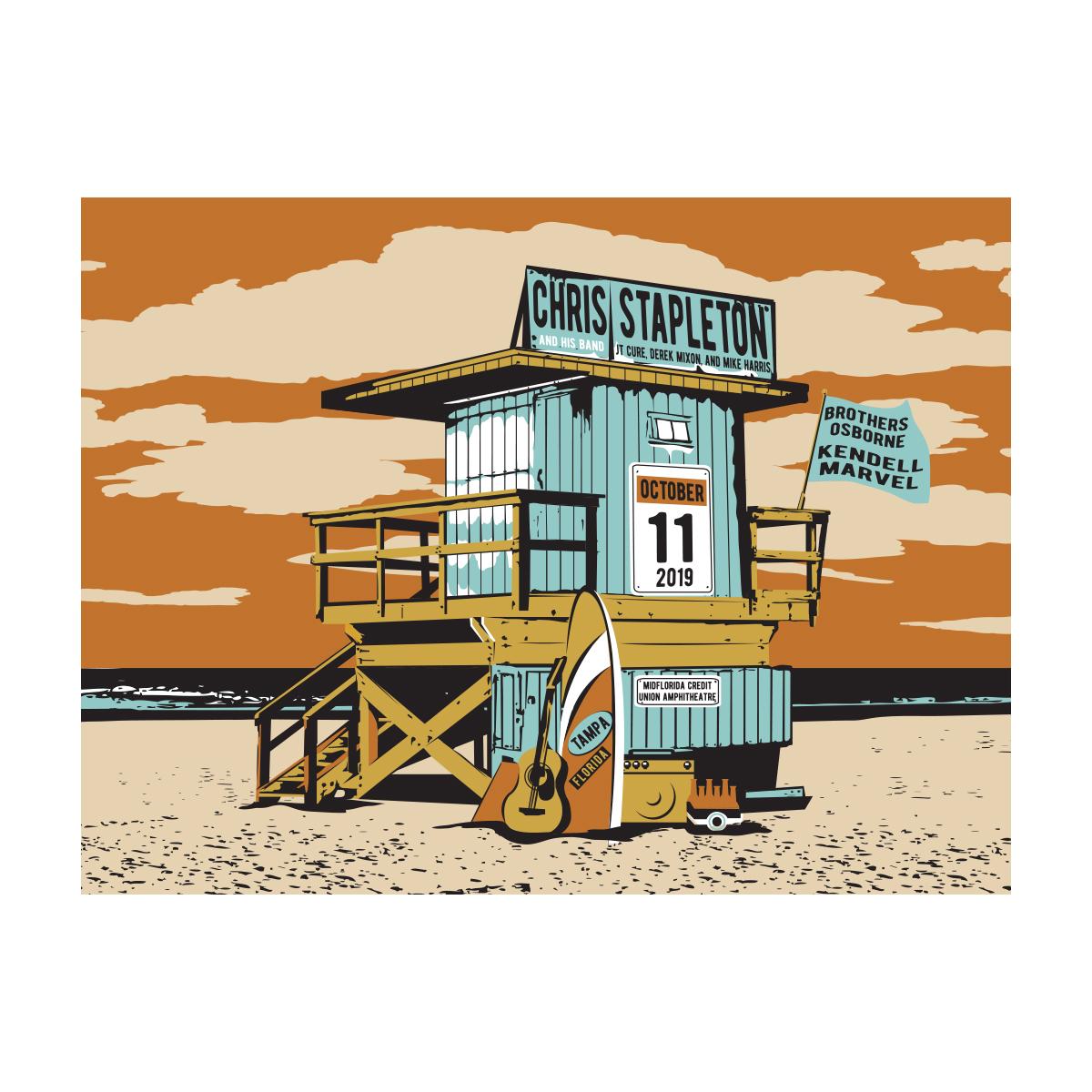 Chris Stapleton Show Poster – Tampa, FL 10/11/19