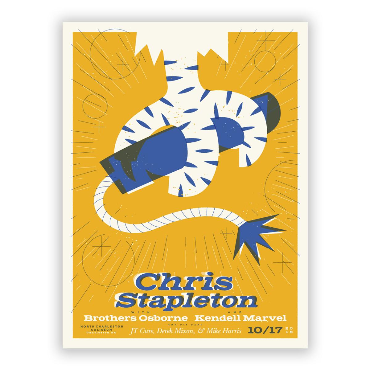 Chris Stapleton Show Poster – Charleston, SC 10/17/19