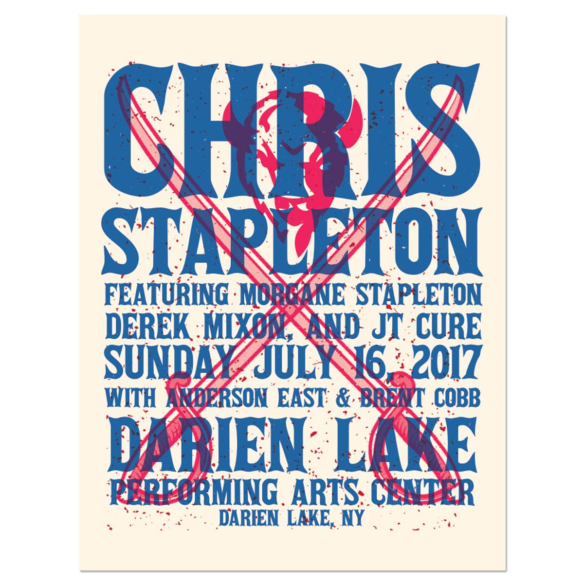 Chris Stapleton Show Poster – Darien Lake, NY 7/16/17