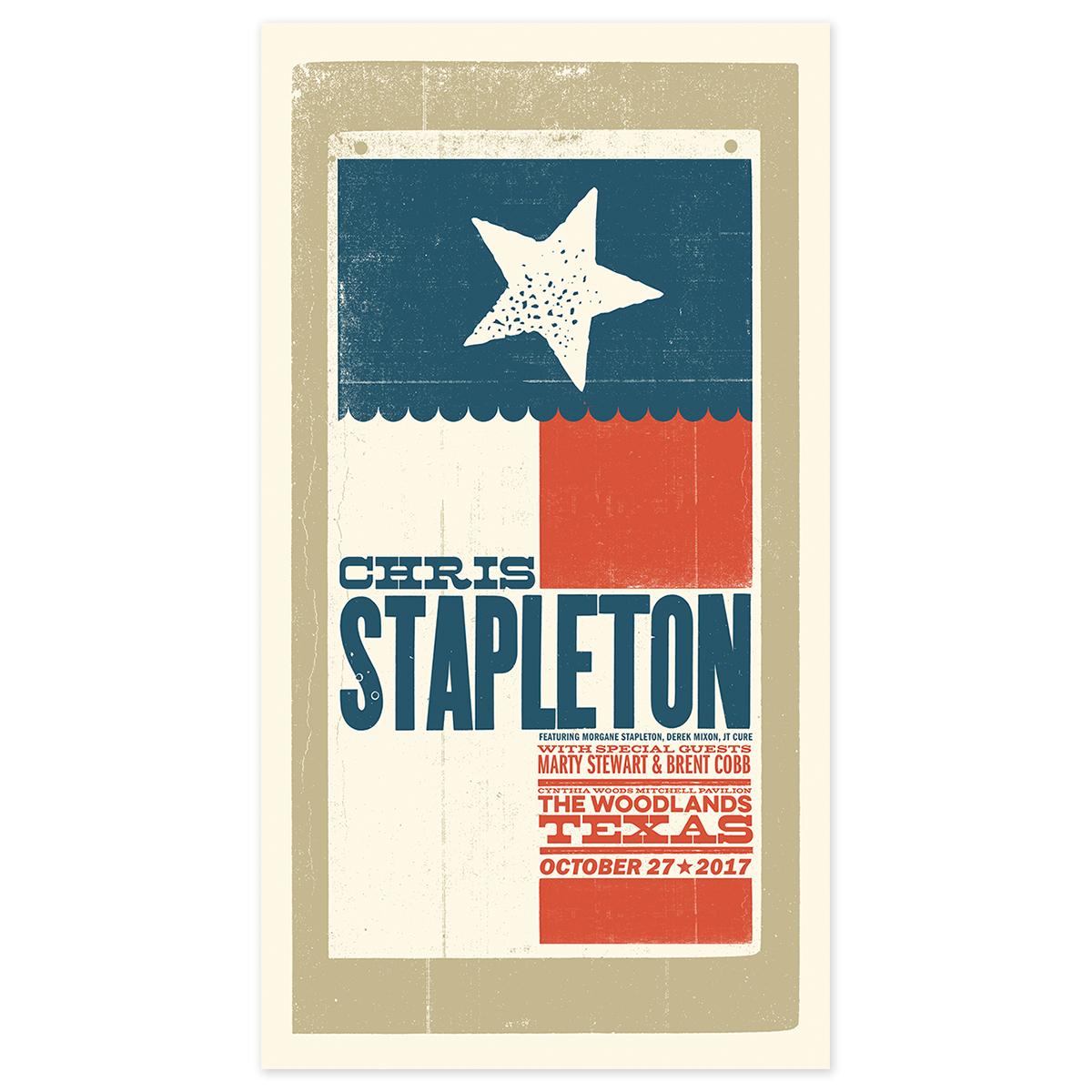 Chris Stapleton Show Poster – The Woodlands, TX 10/27/17