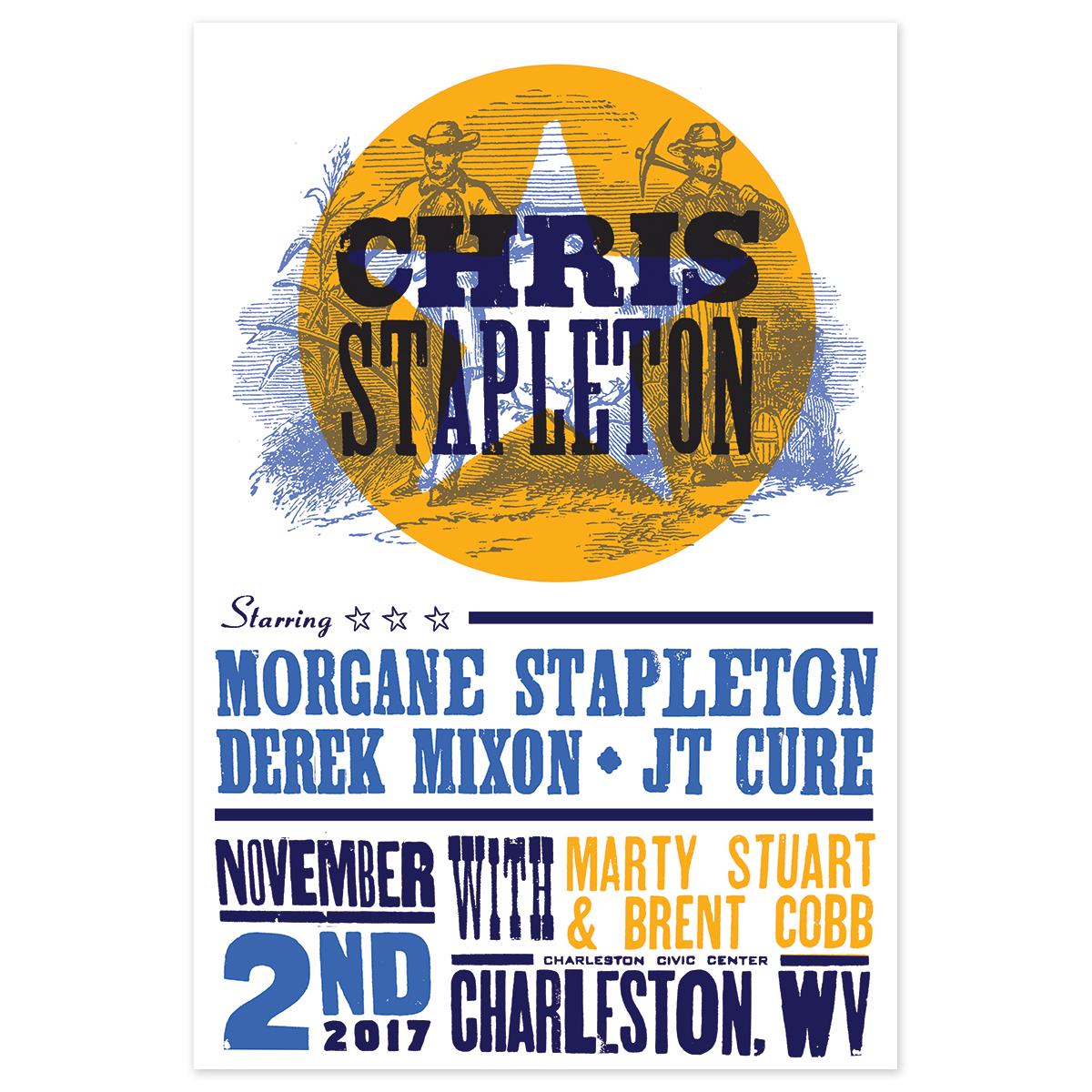 Chris Stapleton Show Poster – Charleston, WV 11/2/17