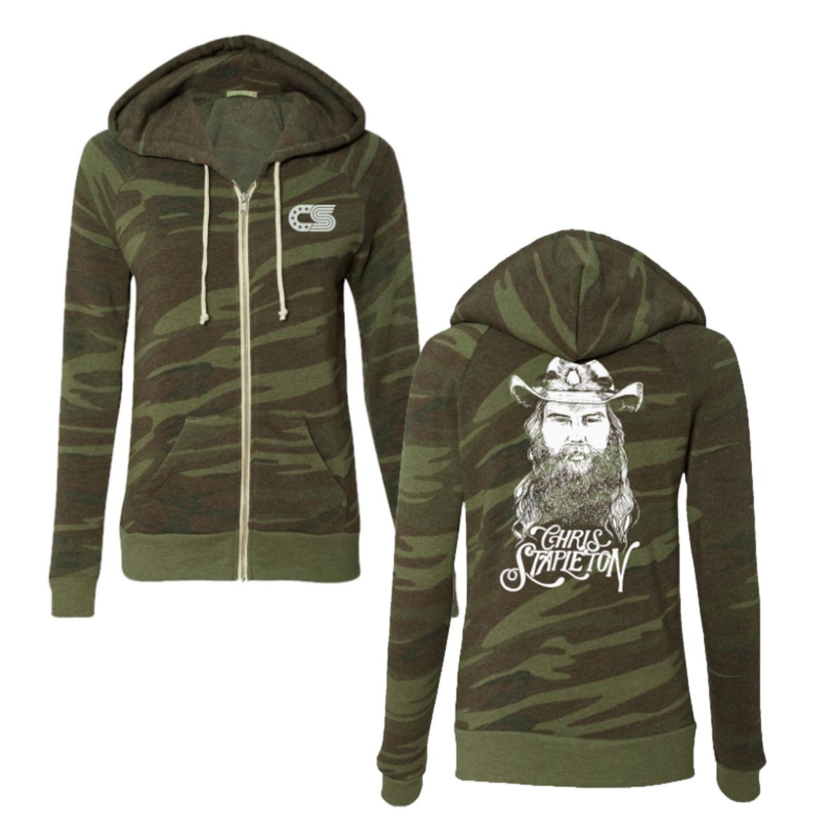 Ladies Camo Green Zip Hoody