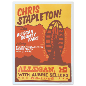 Chris Stapleton Show Poster – Allegan, MI 9/11/16