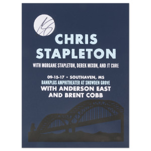 Signed Chris Stapleton Show Poster – Southaven, MS 9/15/17