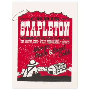 Signed Chris Stapleton Show Poster – Des Moines, IA 10/6/17