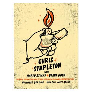 Chris Stapleton Show Poster – Charlottesville, VA 11/3/18