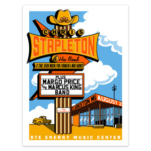 Chris Stapleton Show Poster – Clarkston, MI 8/2/19