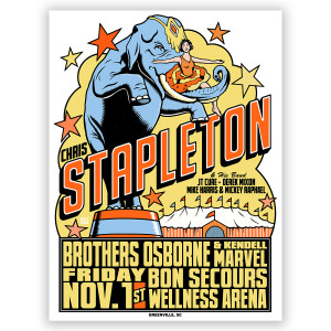 Chris Stapleton Show Poster – Greenville, SC 11/1/19