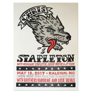 Chris Stapleton Show Poster – Raleigh, NC 5/12/17