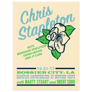 Chris Stapleton Show Poster – Bossier City, LA 10/21/17