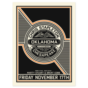 Chris Stapleton Show Poster – Oklahoma City, OK 11/17/17