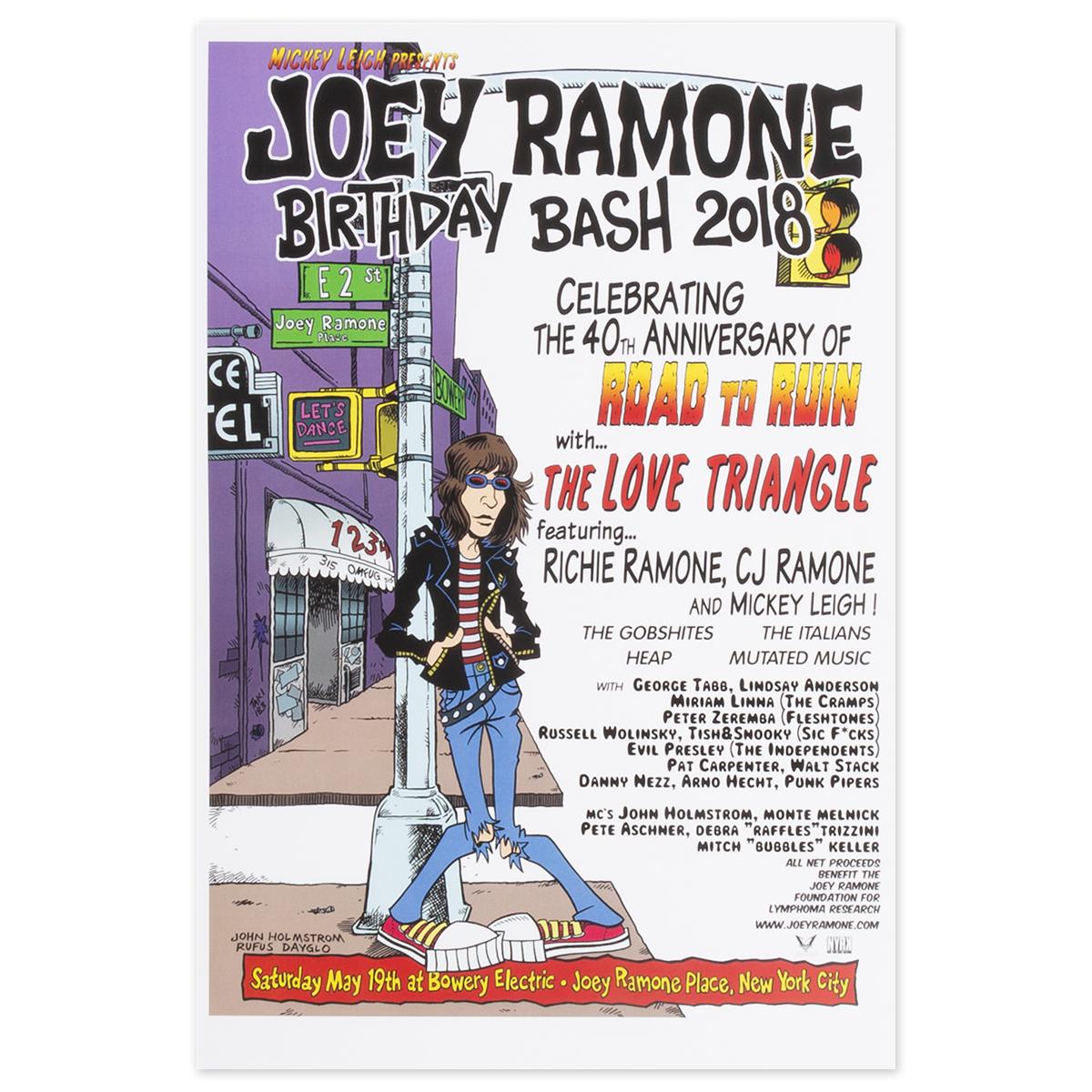 Joey Ramone 2018 Birthday Bash Poster