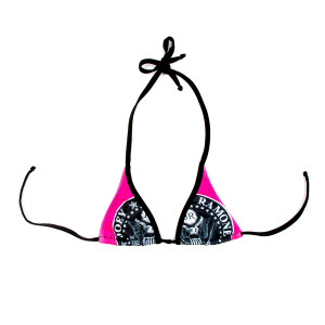 King of Punk Black/Pink Halter Bikini Top
