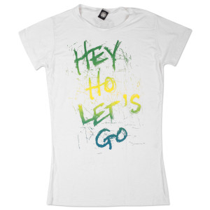 Ramones White Tee (green, blue, yellow writing)