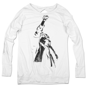 Ladies White JR Fist L/S Shirt