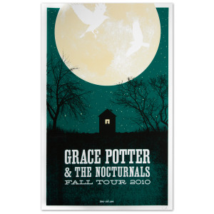 Grace Potter & The Nocturnals 2010 Fall Tour Moon Poster