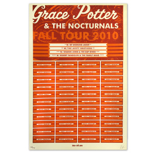 Grace Potter & The Nocturnals 2010 Fall Tour Dates Poster