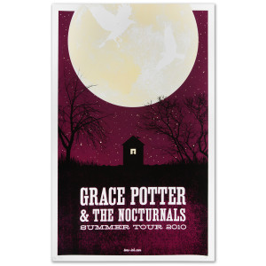 Grace Potter & The Nocturnals 2010 Summer Tour Moon Poster