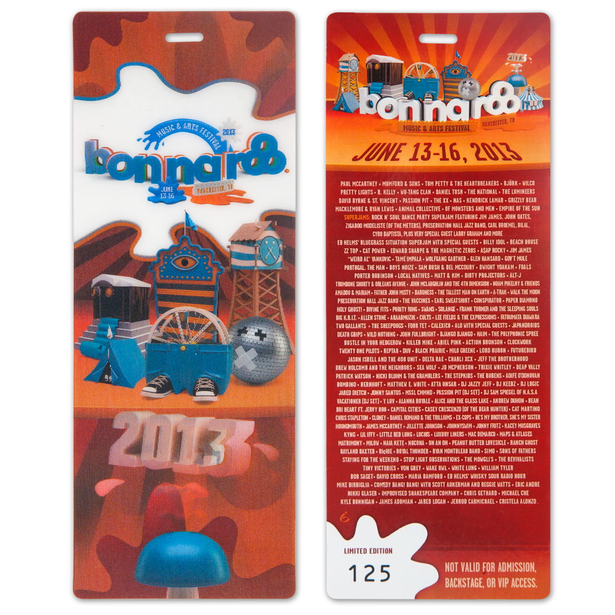 Bonnaroo 2013 Commemorative Ticket