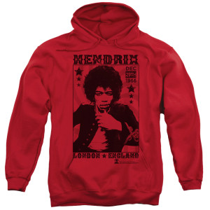 Jimi Hendrix London 1966 Red Pullover Hoodie