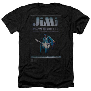 Jimi Hendrix Jimi Plays Poster Heather Black T-Shirt