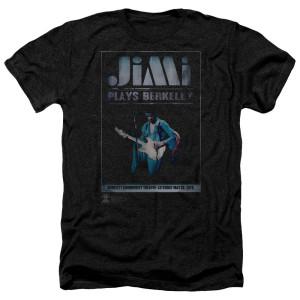 Jimi Hendrix Jimi Plays Poster Heather Black T-Shirt