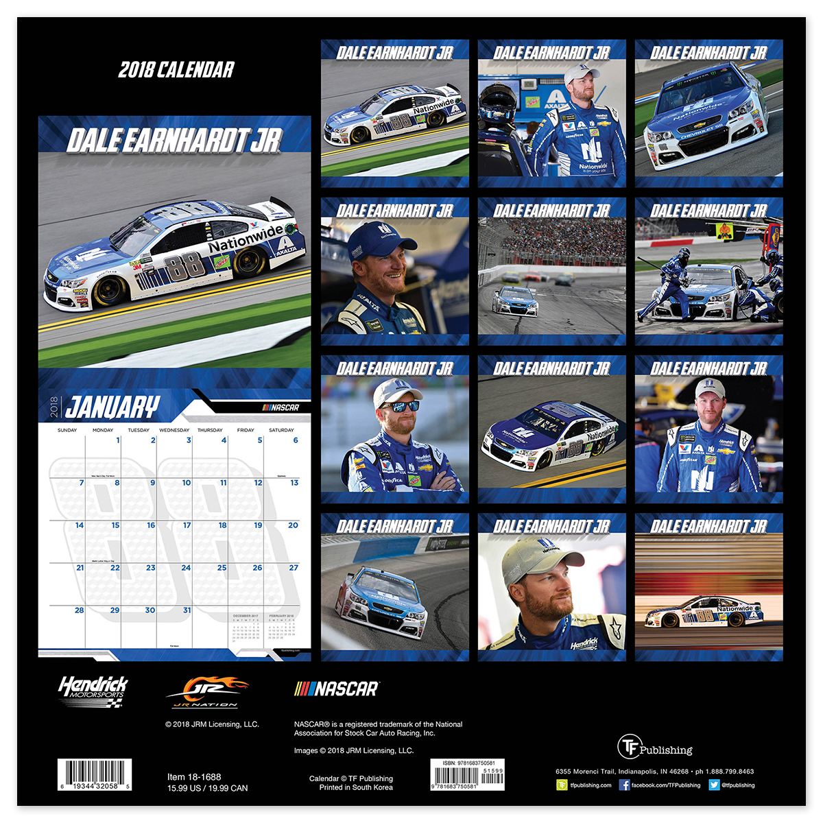 dale earnhardt jr 88 2018 12x 12 wall calendar